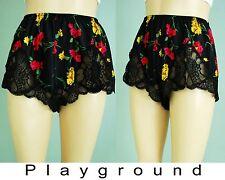 Vintage oscar de la renta floral satin lace pantie lingerie shorts m