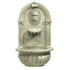Lion Head Wall Water Fountain Classic Theme Faux Stone Look Roman Style New