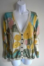 Guinevere Anthropologie Watercolor Floral Cardigan Sweater M Medium multicolor