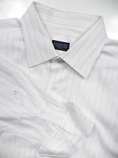 LANVIN PARIS MENS 17 XL 36 FRENCH CUFF DRESS SHIRT WHITE STRIPE MADE IN ITALY