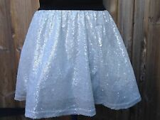 8 X SILVER/WHITE SEQUIN DANCE SKIRTS AGE 9-10 DANCE COSTUMES-  JOBLOT