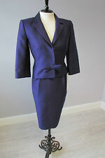 HOBBS INVITATION  BOW DETAIL WOOL/SILK DRESS SUIT - SIZE10/8 -  CADBURY PURPLE