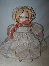 Antique HAND MADE CLOTH DOLL & DRESS W/PLASTIC/PAPER MACHE? HEAD Early 1900's