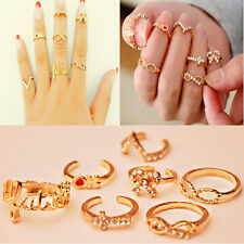 Hot Sell Fashion7Pcs Mix Cute Charm Knuckle Gold Cut Above Ring Band Midi Rings