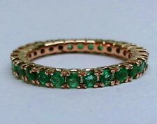 R122- Genuine 9K SOLID Rose Gold NATURAL Emerald FULL Eternity Ring Band size M