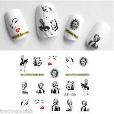 Nail Art Acqua Trasferelli Decalcomanie Adesivi Unghie Marilyn Monroe Smalto Gel