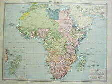 1920 LARGE MAP ~ AFRICA ~ MADAGASCAR EUROPEAN POSSESSIONS ANGOLIA MOZAMBIQUE