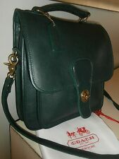 COACH WILLIS STATION Forest GREEN Leather Satchel Cross Body BAG USA VINTAGE
