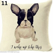 """FRENCH BULL DOG: """"I Woke Up Like This"""" LINEN-COTTON CUSHION COVER Puppy, GB Sale"""