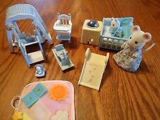 calico critters Blue Nursery with mama & baby
