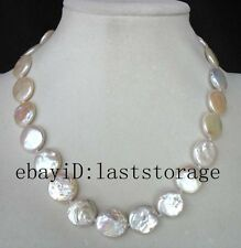 "freshwater pearl white coin 15-16mm necklace 17 "" nature wholesale beads gift"
