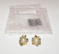 Alexis Bittar Light Grey Pearl Cabochon Mosaic Stud Earrings