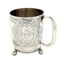 ANTIQUE VICTORIAN STERLING SILVER MUG/TANKARD - WALKER & HALL 1893