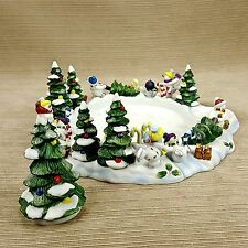 Partylite Snowball 3 Wick Candle Holder Base & Snuffer Snowman Fun Trees Birds