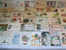 PRE-LINEN GREETINGS POSTCARD LOT MOST EMBOSSED 1900's UP MOST OVER 100 YRS OLDd