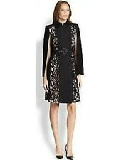 New BCBG Genevieve Black Trench Coat Lace Cape Dress SZ XS