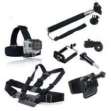 For Go pro 4 Sj4000 Accessories Head Belt Chest+Belt rist Strap+Handheld Monopod