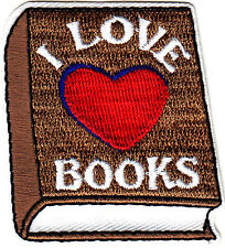 """I LOVE (HEART) BOOKS"" - Iron On Embroidered Patch/Reading, Books, School, Words"