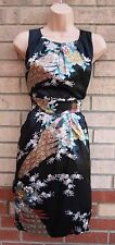 TRAFFIC PEOPLE FLORAL  BLACK MULTI COLOR SILKY FEEL A LINE TULIP RARE DRESS L 14