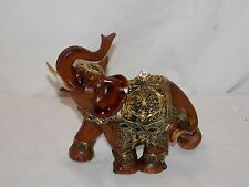 NEW AFRICAN ASIAN BROWN & GOLD LUCKY ELEPHANT DECORATIVE STATUE FIGURE TRUNK UP