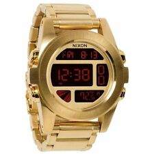New Nixon Unit SS Digital Dial Gold-Tone Stainless Steel Mens Watch A360502