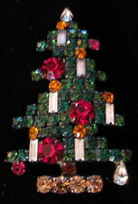 BEAUTIFUL WEISS 6 CANDLE CHRISTMAS TREE PIN 112710