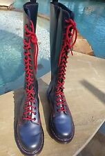 Dr. Martens Womens Grey Metallic and Red Lace up Boots Sz 8