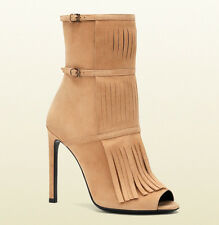 $995 GUCCI BOOTS BECKY BEIGE SUEDE OPEN TOE FRINGE BOOTIES sz 38 / 8