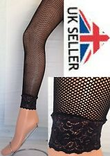 "black xl footless fishnet tights with lace frill,( FITS UP TO 54"" HIPS)"