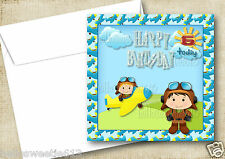 1-10 LITTLE PILOT AEROPLANE AIRPLANE INVITATIONS OR THANK YOU OR BIRTHDAY CARDS