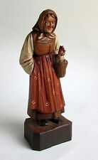 Antique Italian Hand Carved & Painted Polychrome Wood Figure of Peasant Woman