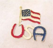 USA American flag combination enamel red white blue tac lapel pin silvertone