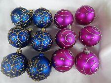 Ornaments Christmas Blue and  purple  decor  12 plastic  tree or crafts