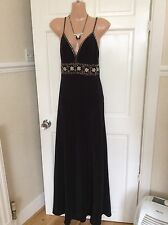 Pearce Fonda Black With Gold/pearl Sequins  Maxi Dress Length   Size 10