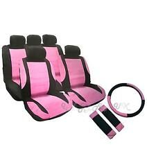 Pink leather look seat cover set covers + steering wheel glove shoulder pads