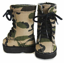 "Camo Combat Boots for American Girl Boy 18"" Doll Clothes Shoes"