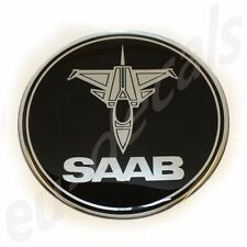 "63.5mm/2.50"" JET plane SAAB BLACK Chrome Hood Badge Emblem aero 9-5 9-3 3D decal"