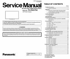 Panasonic Viera TC-P65VT50 3D Plasma Smart TV Service Manual