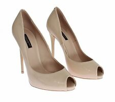 NEW $580 DOLCE & GABBANA Beige Patent Leather Open Toe Pumps Heels EU36 / US6