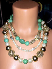 AMRITA SINGH Jewelry Mitnal Turquoise Gold Faux Pearl Strand Necklace NEW $150