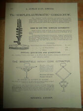 Vintage Corkscrew Images Copy Print L Lumley & Co Minories London #610