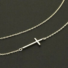 Valentine Gift Girl Sideways Cross Necklace - Sterling Silver Cross Necklace