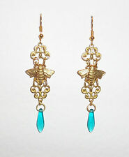 VINTAGE GOLD COLOUR BRASS TURQUOISE GLASS ART NOUVEAU HONEY BEE EARRINGS