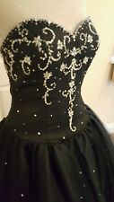 Hermione Signature Black Gothic Gypsy Prom Ball Gown Wedding Dress 10 UK 12