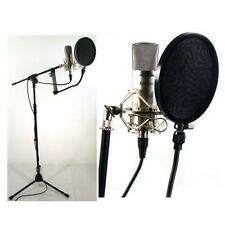 Condenser Microphone Recording Mic Bundle Studio Stand Filter Vocal Mic Voice