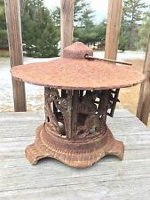 Vtg Cast Iron Metal Japanese Pagoda House Lantern Mushroom Roof Candle Holder
