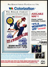 It'S A Wonderful Life - Colorization_Original 1986 video Print Ad /advert promo