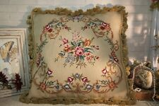 """20"""" Old VTG Antique Country Chic Shabby Handcrafted Needlepoint Pillow Cushion"""