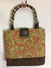 Handmade Paisley Handbag Fabric Purse Wooden Beaded Handle Brown Red Green