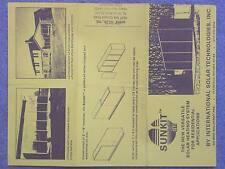 1972 circa SUNKIT SOLAR HEATING SYSTEM FLYER  INTERNATIONAL SOLAR TECHNOLOGY PLA